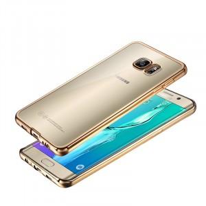 Силиконовый глянцевый полупрозрачный чехол текстура Металлик для Samsung Galaxy S7 Бежевый