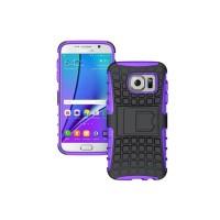 Антиударный гибридный силиконовый чехол с поликарбонатной крышкой и встроенной ножкой-подставкой для Samsung Galaxy S7 Edge Фиолетовый