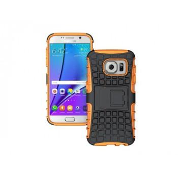 Антиударный гибридный силиконовый чехол с поликарбонатной крышкой и встроенной ножкой-подставкой для Samsung Galaxy S7 Edge Оранжевый