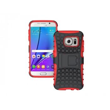 Антиударный гибридный силиконовый чехол с поликарбонатной крышкой и встроенной ножкой-подставкой для Samsung Galaxy S7 Edge Красный