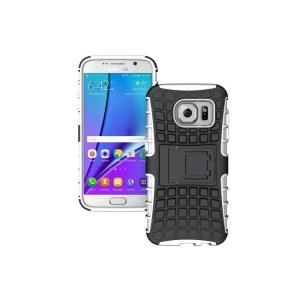 Антиударный гибридный силиконовый чехол с поликарбонатной крышкой и встроенной ножкой-подставкой для Samsung Galaxy S7 Edge Белый
