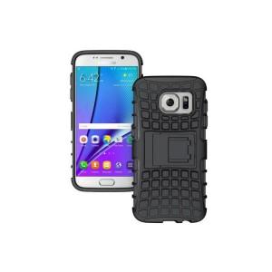 Антиударный гибридный силиконовый чехол с поликарбонатной крышкой и встроенной ножкой-подставкой для Samsung Galaxy S7 Edge Черный
