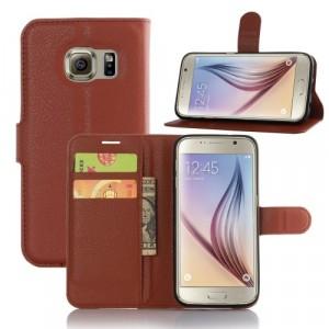 Чехол портмоне подставка с защелкой для Samsung Galaxy S7 Edge Коричневый