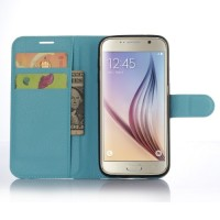 Чехол портмоне подставка с защелкой для Samsung Galaxy S7 Edge Голубой