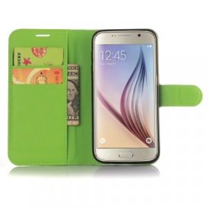 Чехол портмоне подставка с защелкой для Samsung Galaxy S7 Edge Зеленый