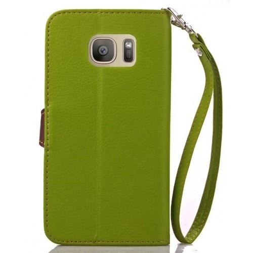 Текстурный чехол портмоне подставка на силиконовой основе с дизайнерской застежкой для Samsung Galaxy S7 Edge Зеленый