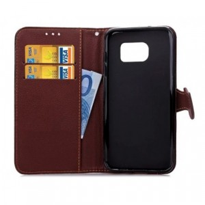 Текстурный чехол портмоне подставка на силиконовой основе с дизайнерской застежкой для Samsung Galaxy S7 Edge Коричневый