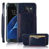 Дизайнерский чехол накладка с отделениями для карт и подставкой для Samsung Galaxy S7 Edge Синий