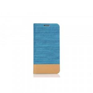 Чехол флип подставка на силиконовой основе с отделением для карты для Samsung Galaxy S7 Edge Голубой