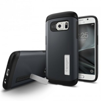 Двухкомпонентный силиконовый премиум чехол с пластиковым бампером-подставкой для Samsung Galaxy S7 Edge