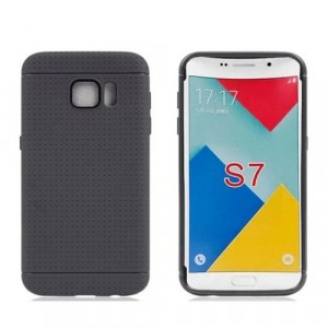 Силиконовый матовый непрозрачный чехол текстура Точки для Samsung Galaxy S7 Edge Черный