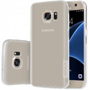 Силиконовый матовый полупрозрачный чехол повышенной ударостойкости для Samsung Galaxy S7 Edge Белый