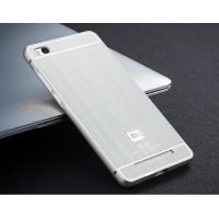 Двухкомпонентный чехол с металлическим бампером и поликарбонатной накладкой текстура Металл для Xiaomi RedMi 3 Серый