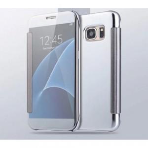 Двухмодульный пластиковый чехол флип с полупрозрачной крышкой с зеркальным покрытием для Samsung Galaxy S7 Edge Белый