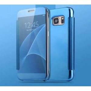 Двухмодульный пластиковый чехол флип с полупрозрачной крышкой с зеркальным покрытием для Samsung Galaxy S7 Edge Голубой