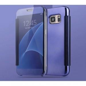 Двухмодульный пластиковый чехол флип с полупрозрачной крышкой с зеркальным покрытием для Samsung Galaxy S7 Edge Фиолетовый