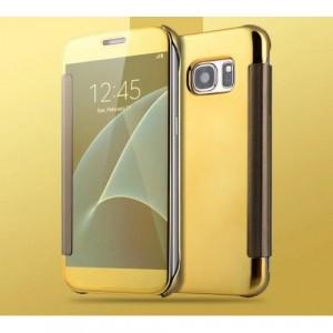 Двухмодульный пластиковый чехол флип с полупрозрачной крышкой с зеркальным покрытием для Samsung Galaxy S7 Edge Бежевый