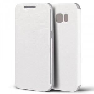 Текстурный чехол флип подставка на пластиковой основе для Samsung Galaxy S7 Edge Белый
