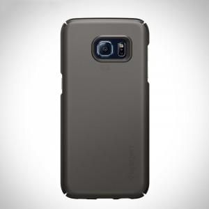 Пластиковый матовый непрозрачный ультратонкий чехол для Samsung Galaxy S7 Edge Серый
