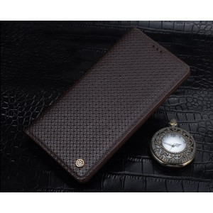 Текстурный кожаный чехол горизонтальная книжка (нат. кожа) для Samsung Galaxy S7 Edge Коричневый