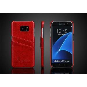 Чехол накладка с отделением для карт текстура Кожа для Samsung Galaxy S7 Edge Красный