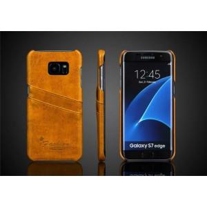 Чехол накладка с отделением для карт текстура Кожа для Samsung Galaxy S7 Edge Бежевый