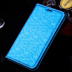 Текстурный чехол горизонтальная книжка подставка с отделением для карт для Xiaomi RedMi 3 Голубой