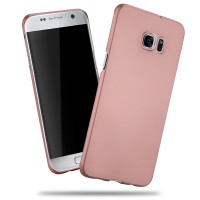 Пластиковый матовый непрозрачный чехол с улучшенной защитой корпуса для Samsung Galaxy S7 Edge Розовый