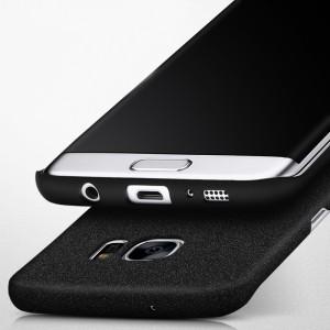 Пластиковый матовый непрозрачный чехол Металлик для Samsung Galaxy S7 Edge Черный
