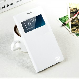 Чехол флип подставка на присоске с окном вызова для Xiaomi RedMi 3 Белый