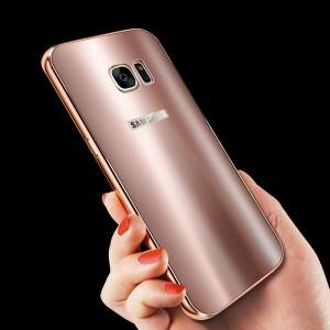 Двухкомпонентный чехол с металлическим бампером и акриловой премиум накладкой со светоотражающим эффектом для Samsung Galaxy S7 Edge Розовый