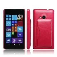 Дизайнерский чехол накладка с отделениями для карт и подставкой для Microsoft Lumia 535 Красный