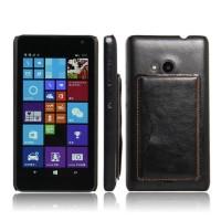 Дизайнерский чехол накладка с отделениями для карт и подставкой для Microsoft Lumia 535 Черный