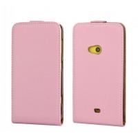 Чехол вертикальная книжка на пластиковой основе для Nokia Lumia 625 Розовый