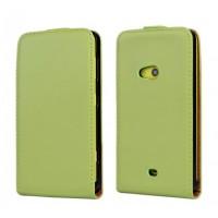 Чехол вертикальная книжка на пластиковой основе для Nokia Lumia 625 Зеленый
