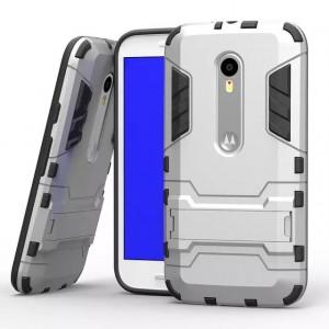 Двухкомпонентный силиконовый чехол с пластиковым бампером и подставкой для Lenovo Moto G