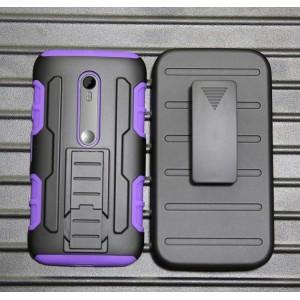 Антиударный гибридный силиконовый чехол с поликарбонатной крышкой для Lenovo Moto G Фиолетовый