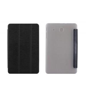 Текстурный чехол флип подставка сегментарный на пластиковой полупрозрачной основе для Samsung Galaxy Tab E 9.6 Черный