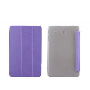 Текстурный чехол флип подставка сегментарный на пластиковой полупрозрачной основе для Samsung Galaxy Tab E 9.6 Фиолетовый