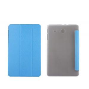 Текстурный чехол флип подставка сегментарный на пластиковой полупрозрачной основе для Samsung Galaxy Tab E 9.6 Голубой