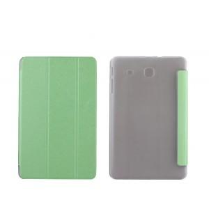 Текстурный чехол флип подставка сегментарный на пластиковой полупрозрачной основе для Samsung Galaxy Tab E 9.6 Зеленый