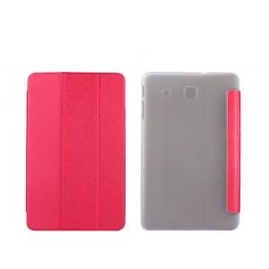 Текстурный чехол флип подставка сегментарный на пластиковой полупрозрачной основе для Samsung Galaxy Tab E 9.6 Красный