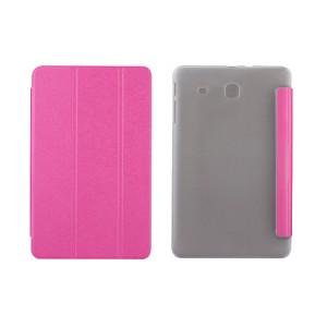 Текстурный чехол флип подставка сегментарный на пластиковой полупрозрачной основе для Samsung Galaxy Tab E 9.6 Пурпурный