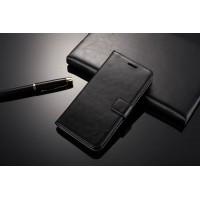 Глянцевый чехол портмоне подставка с защелкой для Xiaomi RedMi 3 Черный