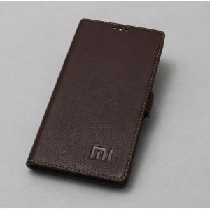 Кожаный чехол горизонтальная книжка (нат. кожа) для Xiaomi RedMi 3 Коричневый
