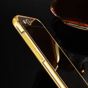 Гибридный металлический двухкомпонентный чехол с поликарбонатной крышкой с зеркальным покрытием для Xiaomi RedMi 3 Бежевый