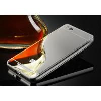 Гибридный металлический двухкомпонентный чехол с поликарбонатной крышкой с зеркальным покрытием для Xiaomi RedMi 3 Серый