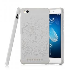 Силиконовый матовый непрозрачный чехол с текстурным покрытием Дракон для Xiaomi RedMi 3 Белый
