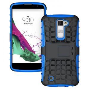 Антиударный гибридный силиконовый чехол с поликарбонатной крышкой и встроенной ножкой-подставкой для LG K10 Синий