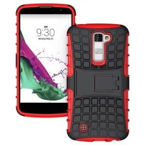 Антиударный гибридный силиконовый чехол с поликарбонатной крышкой и встроенной ножкой-подставкой для LG K10 Красный